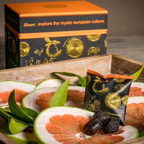 Share Pomelozzini Einzelsachet mit 3 Früchten und Box