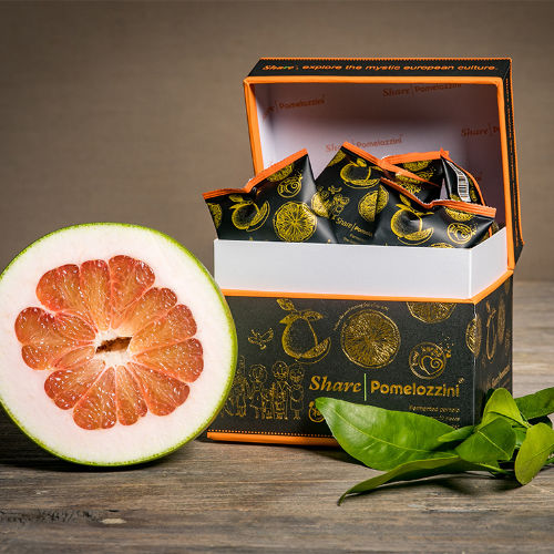 Einzelpackungen Share Pomelozzini in geöffneter Box